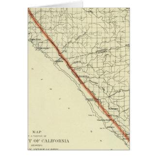 Costa de California que muestra la grieta de San A Tarjetas