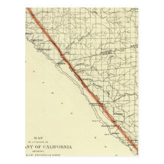 Costa de California que muestra la grieta de San A Postal