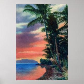 Costa de Hawaii en la puesta del sol Póster