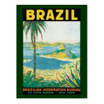 Costa de la playa del viaje del vintage, Río de Postal