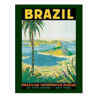 Costa de la playa del viaje del vintage, Río de Tarjeta Postal