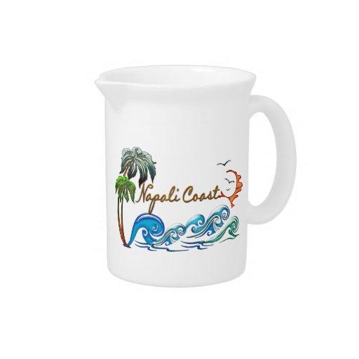 COSTA de las palmas 3d, de las ondas y de la puest Jarra Para Bebida