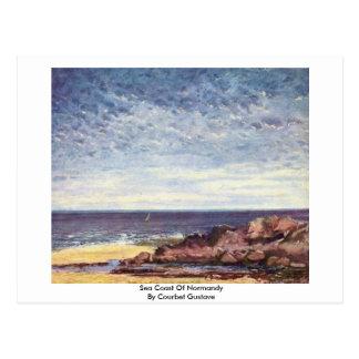Costa de mar de Normandía de Courbet Gustavo Postal