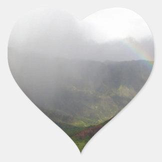 Costa de Napali de la montaña del arco iris Calcomanías De Corazones