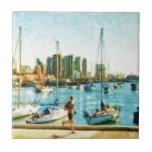 Costa de San Diego por el mac de Shawna Azulejo Cuadrado Pequeño