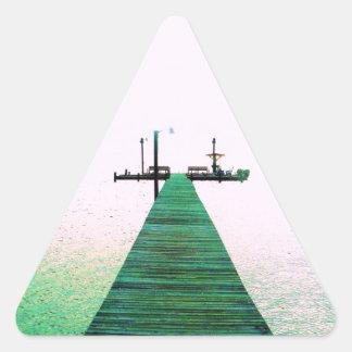 Costa de Tejas de la calma del océano de la bahía  Pegatinas De Trianguladas