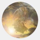 Costa del ángel de guarda etiqueta redonda