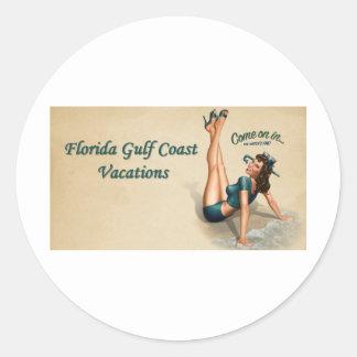 Costa del Golfo de la Florida Pegatina Redonda