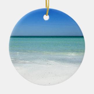 Costa del Golfo de la playa de la siesta Adorno Navideño Redondo De Cerámica