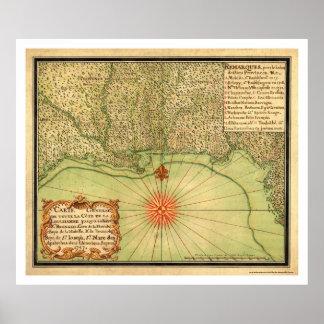 Costa del Golfo del mapa 1747 de los E.E.U.U. Póster