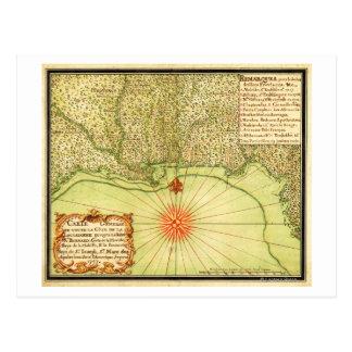 Costa del Golfo del mapa unido de StatesPanoramic Postales
