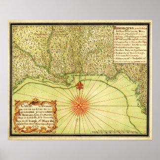 Costa del Golfo del mapa unido de StatesPanoramic Póster
