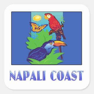 COSTA del Macaw, del loro, de la mariposa y de la  Calcomanías Cuadradass Personalizadas