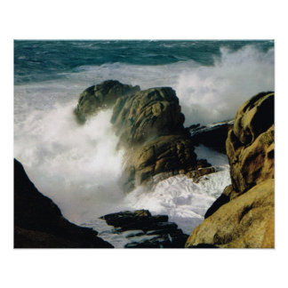 Costa del vintage Francia, de Bretaña, mar agitado Póster