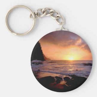 Costa Hawaii del Na Pali de la puesta del sol Llavero Personalizado
