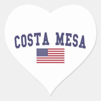 Costa Mesa US Flag Heart Sticker