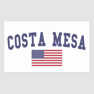 Costa Mesa US Flag Rectangular Sticker