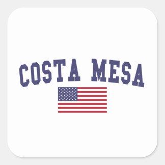 Costa Mesa US Flag Square Sticker