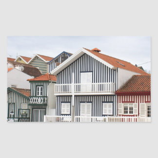 Costa Nova striped houses Rectangular Sticker
