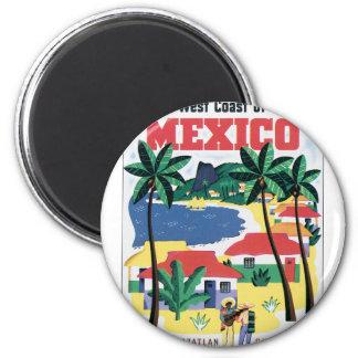 Costa oeste del gráfico colorido de México Imán Redondo 5 Cm