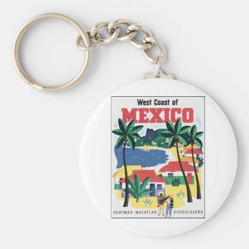 Costa oeste del gráfico colorido de México Llaveros Personalizados