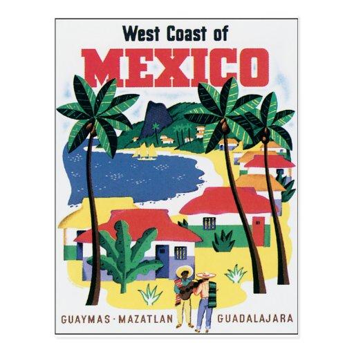 Costa oeste del gráfico colorido de México Tarjetas Postales