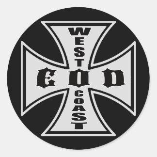 Costa oeste EOD (negro) Pegatina Redonda