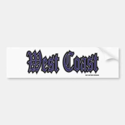 Costa oeste etiqueta de parachoque