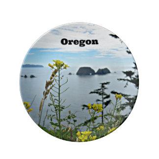 Costa Oregon Roca de tres arcos Plato De Cerámica