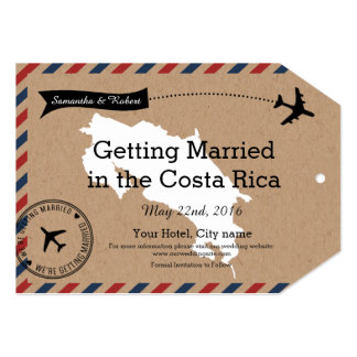 Costa Rica Airmail Luggage Tag Save The Dates 5x7 Paper Invitation Card