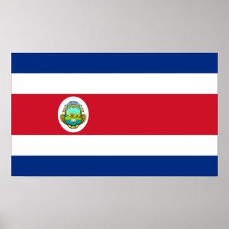 Costa Rica - bandera nacional de Rican de la costa Póster