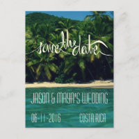 Costa Rica Beach Wedding Save The Date Announcement Postcard