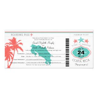 Costa Rica Boarding Pass Wedding Card