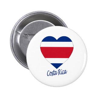 Costa Rica (civil) Flag Heart Button