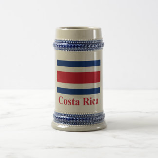 Costa Rica Civil Flag with Name Beer Stein