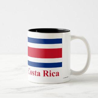 Costa Rica Civil Flag with Name Two-Tone Coffee Mug