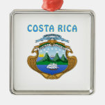 Costa Rica Coat Of Arms Square Metal Christmas Ornament