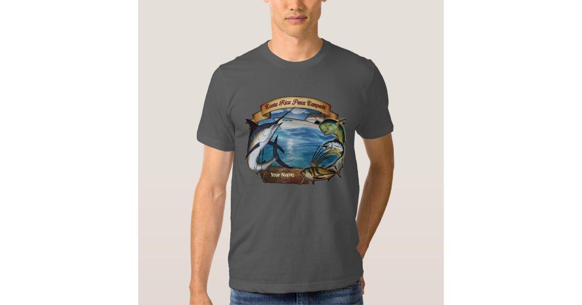 Costa rica fishing champion your name t shirt zazzle for Costa fishing shirt