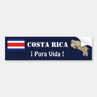 Costa Rica Flag and Map Bumper Sticker Car Bumper Sticker