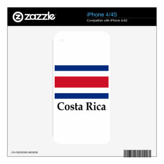 Costa Rica Flag And Name Decals For The iPhone 4S