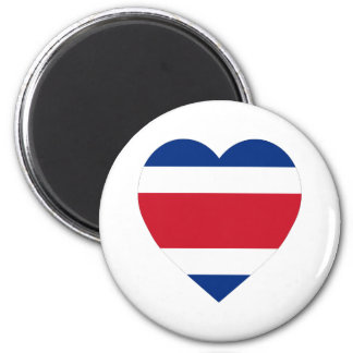 Costa Rica Flag Heart 2 Inch Round Magnet