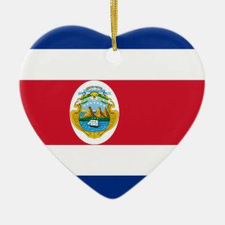 Costa Rica Flag Heart Christmas Ornament