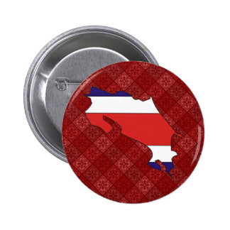 Costa Rica Flag Map full size Pinback Button