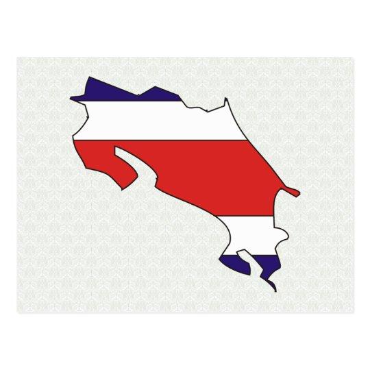 Costa Rica Flag Map full size Postcard