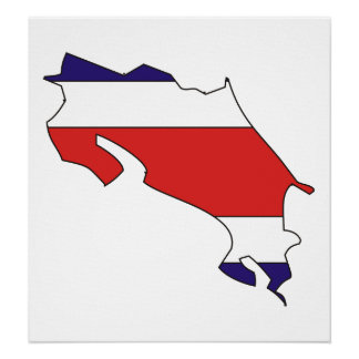 Costa Rica Flag Map full size Poster