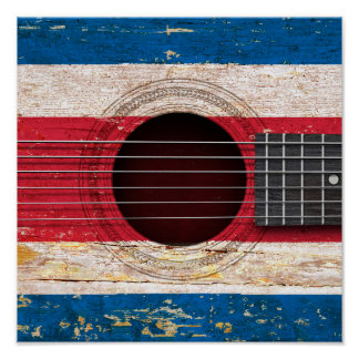 Costa Rica Flag on Old Acoustic Guitar Poster
