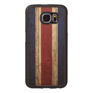Costa Rica Flag on Old Wood Grain Wood Phone Case