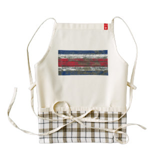 Costa Rica Flag on Rough Wood Boards Effect Zazzle HEART Apron