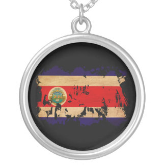 Costa Rica Flag Round Pendant Necklace