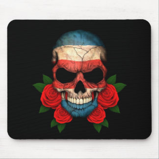 Costa Rica Flag Skull with Red Roses Mouse Pad